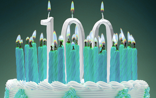 Birthday Cake with One Hundred Candles